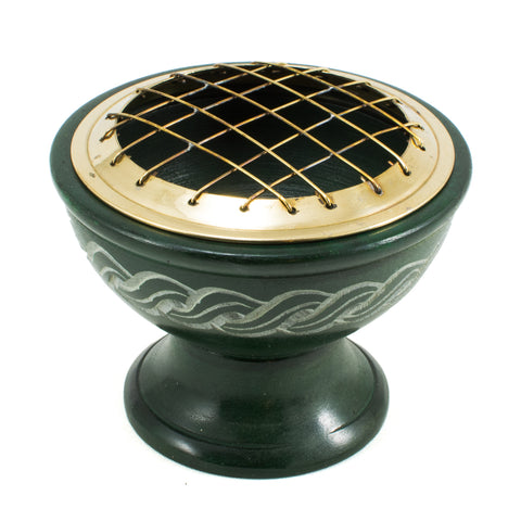 Celtic Soapstone Charcoal Incense Burner Pot w/ Brass Mesh Screen