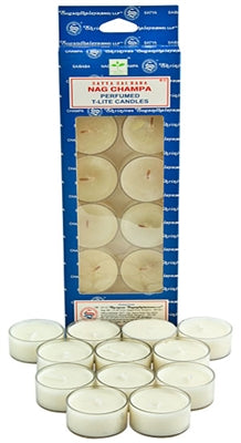 Satya Nag Champa Tea Light Candles (12 Per Pack)
