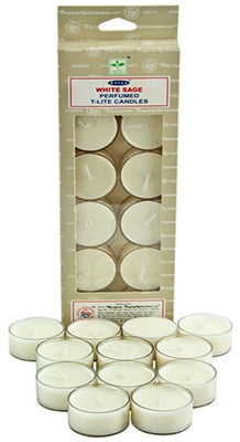 Satya White Sage Tea Light Candles (12 Per Pack)
