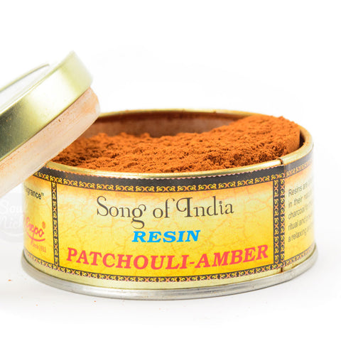 Patchouli Amber Resin Incense Powder Blend Tin - by Song of India