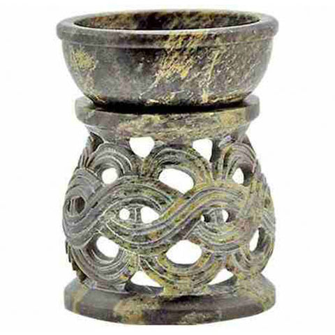 Natural Colored Celtic Soapstone Aroma Lamp - Oil Diffuser