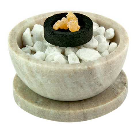 Galaxy Marble Bowl w/ Coaster - Charcoal Resin Incense Burner