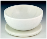 Opal White Marble Bowl w/ Coaster - Charcoal Resin Incense Burner