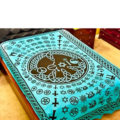 Coexist Multifaith Turquoise Tapestry (Twin)