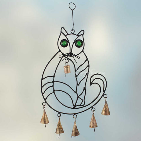 Cat Wind Chime with Rustic Bells & Glass Eyes