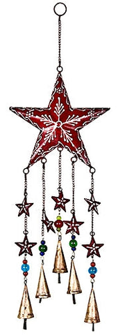 Star Metal Wind Chime w/ Bells & Glass Beads