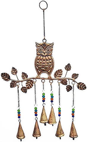 Owl Metal Wind Chime w/ Bells & Glass Beads