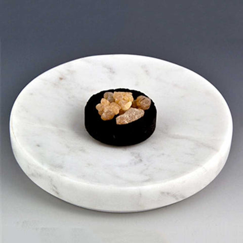White Marble Round Incense Dish Plate Burner