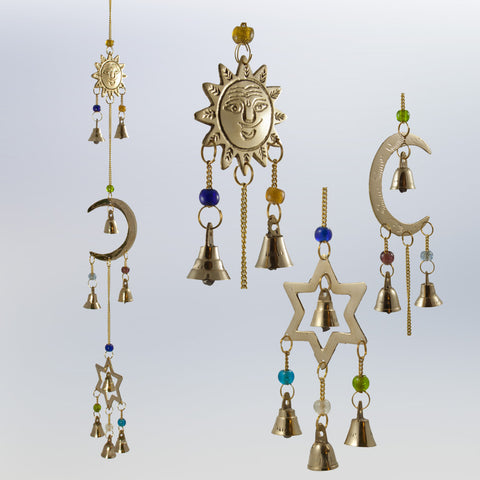 Celestial Sun Moon Star Brass Windchime