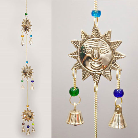 Triple Sun Brass Wind Chime with Beads