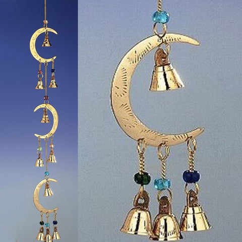 Triple Moon Brass Wind Chime with Beads