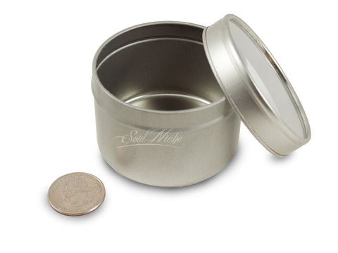 Silver Window Round Tin Containers (Shallow or Deep)