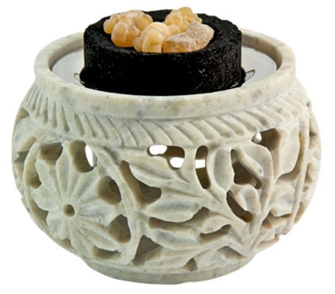 Carved Natural Stone Screen Charcoal Burner