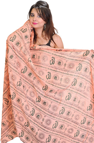 Pink Om Prayer Shawl with Printed Gayatri Mantra Prayer Shawl Scarf Wrap