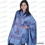 Steel Blue Ganesha Prayer Shawl Scarf Wrap