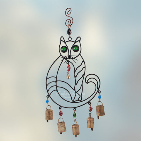 Cat Windchime with Glass Eyes & Colorful Beads