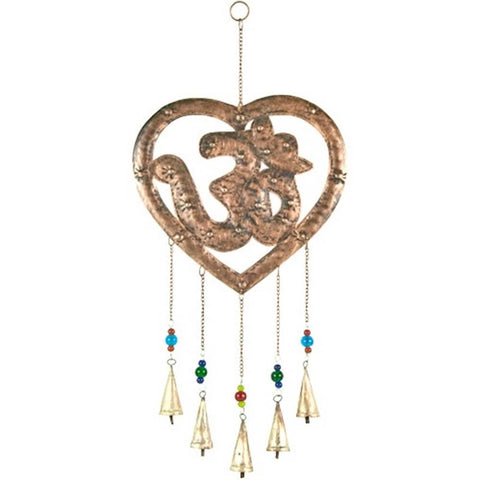 OM Symbol Heart Wind Chime w/ Bells & Beads 117