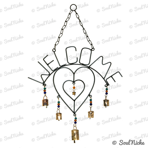 Welcome Heart Wind Chime with Bells & Glass Beads