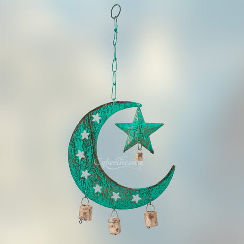 Celestial Sun Moon Star Patina Windchime