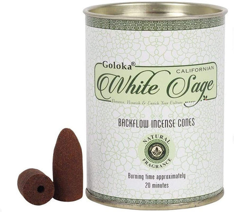 Goloka Backflow Incense Cones - White Sage