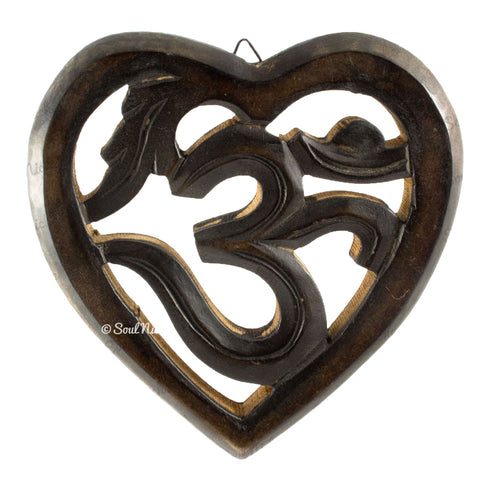 Wooden OM Symbol Heart Wall Hanging 211