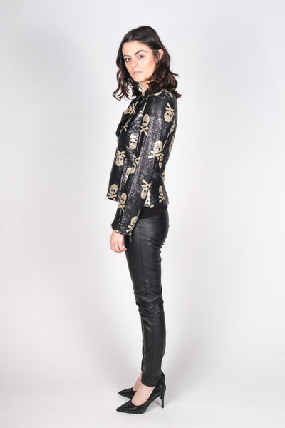 Any Old Iron Jolly Rodgered Sequin Moto Jacket