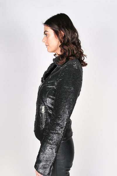Any Old Iron Leather Moto Sequin Jacket