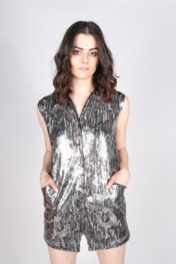 Any Old Iron Shiny Animal Playsuit