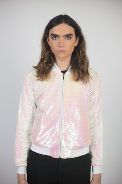 Any Old Iron White Iridescent Bomber