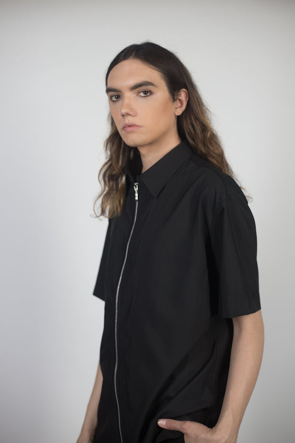 Any Old Iron Zip Up Collared Shirt