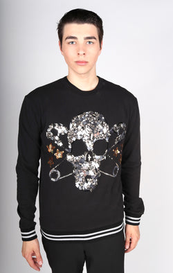 Any Old Iron Beaded Skull Sweatshirt