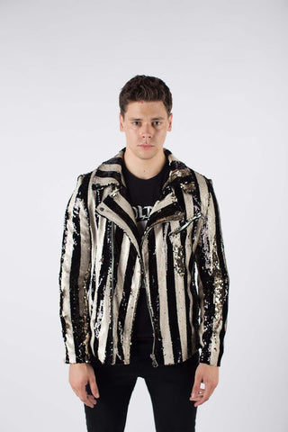 Any Old Iron Stripped Sequin Moto Jacket