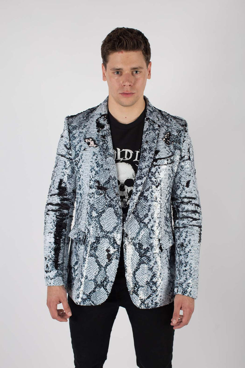 Any Old Iron Whitesnake Mens Sequin Jacket