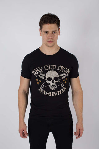 Any Old Iron Logo Hand Beaded T-Shirt