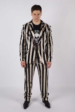 Any Old Iron Stripped Mens Sequin Suit