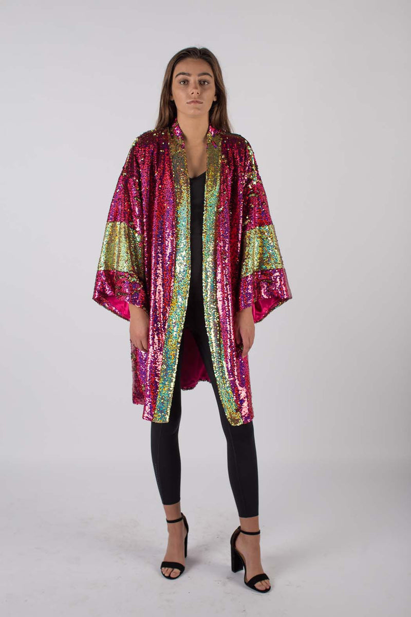 Any Old Iron Hologram Sequin Kimono