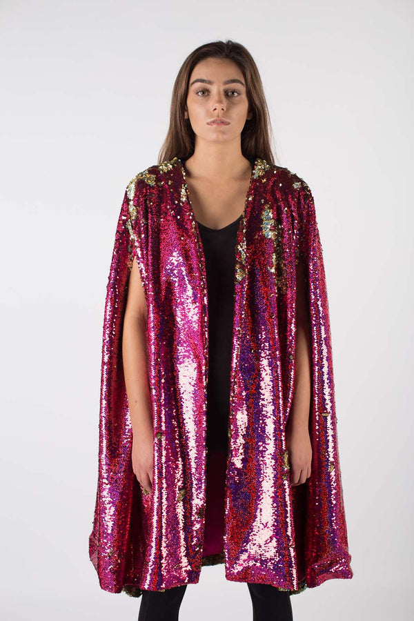 Any Old Iron Hologram Sequin Cape
