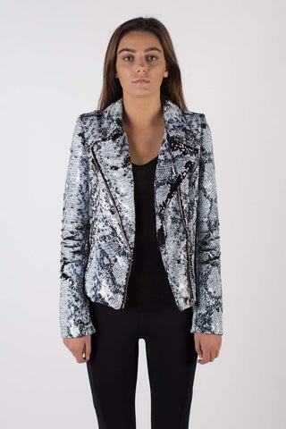 Any Old Iron Whitesnake Sequin Moto jacket