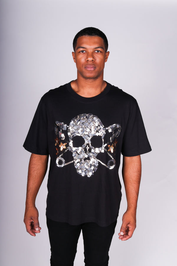 Any Old Iron Skull Beaded T-Shirt