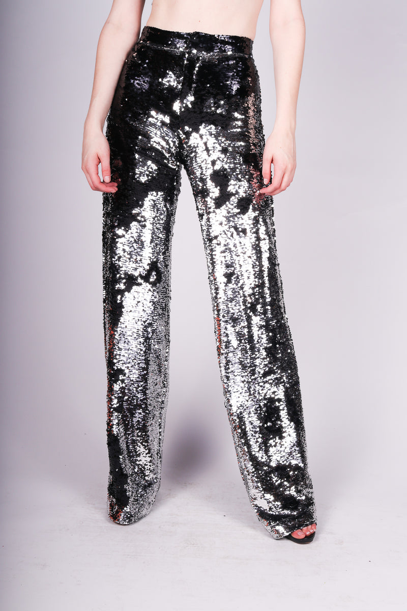 Any Old Iron Black Silver Sequin Flares