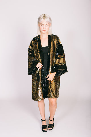 Any Old Iron Sequin Bronze Kimono