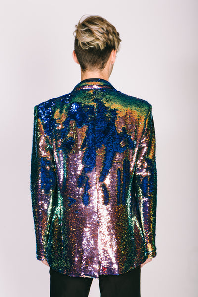 Any Old Iron Mens Oil Slick Sequin Jacket
