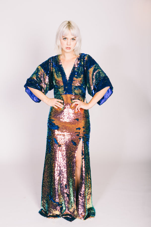 Any Old Iron Oil Slick Kimono Gown