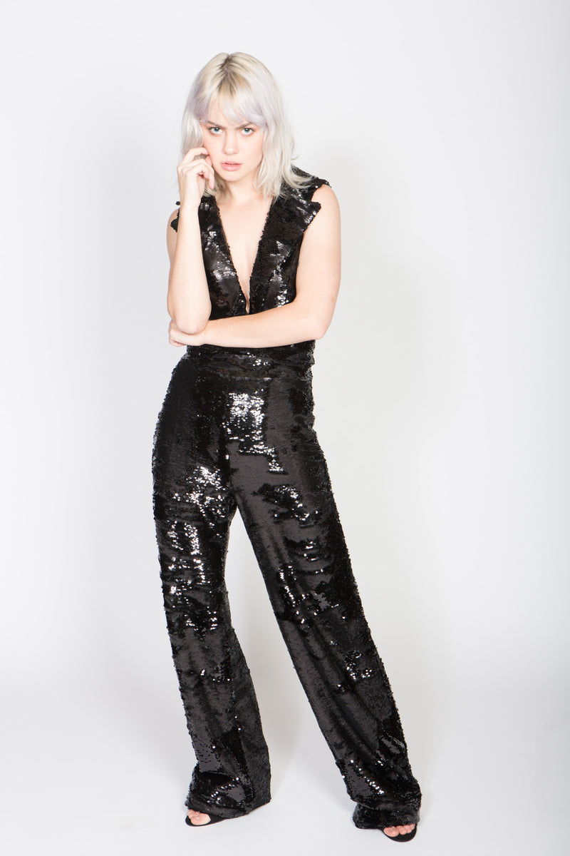 Any Old Iron Black Sequin Biker Top Sleeveless Jumpsuit