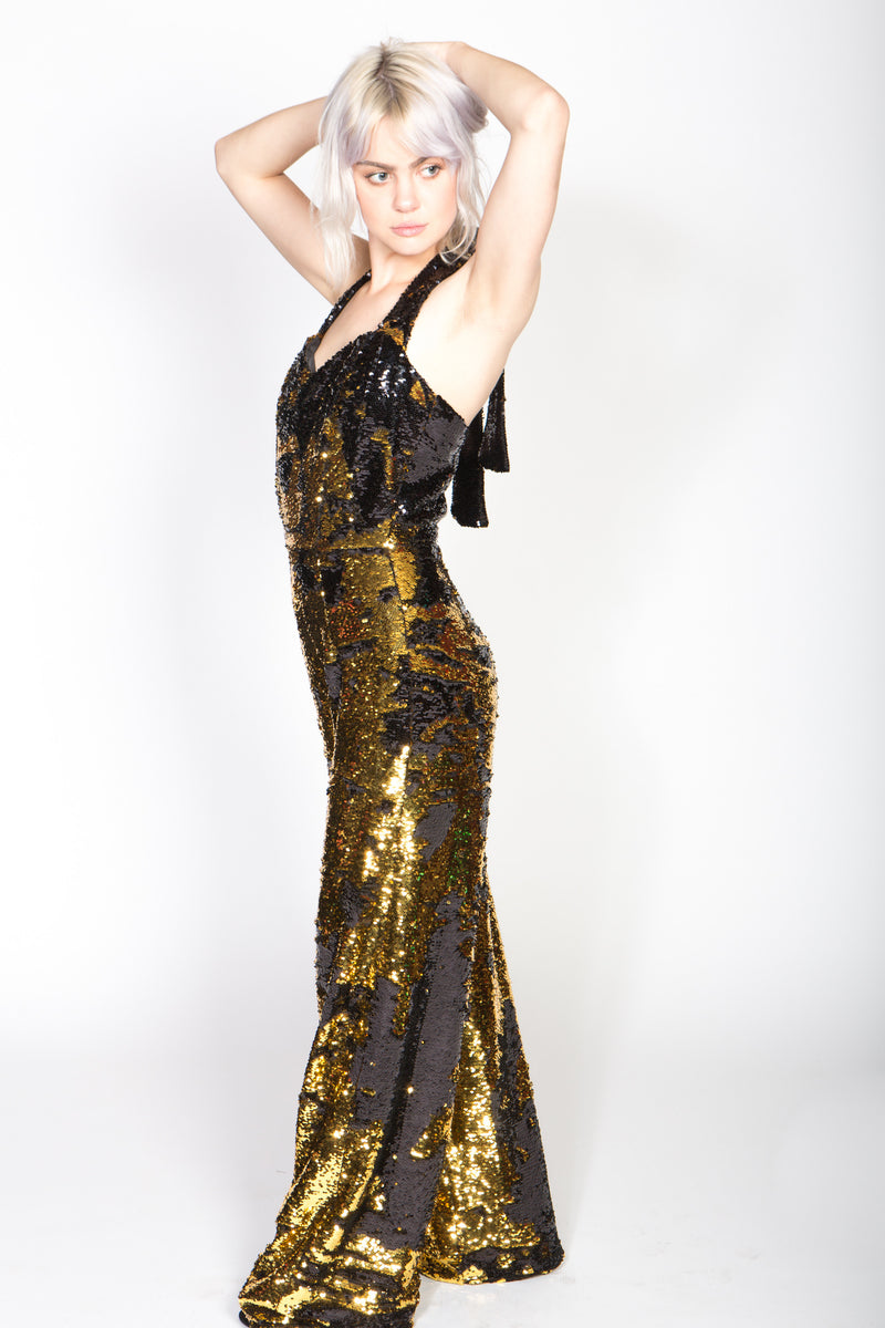 Any Old Iron Flip Sequin Gold and Black Jumpsuit 54