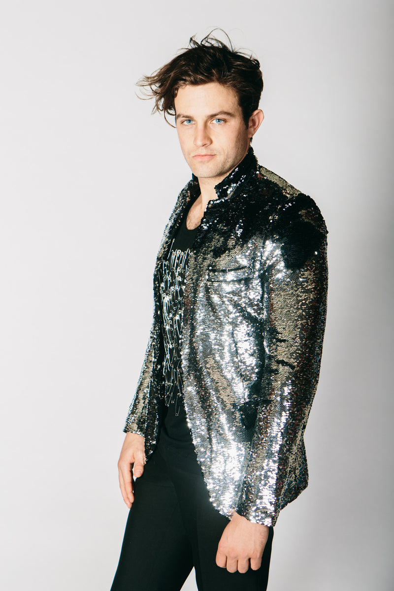 Any Old Iron Black/Silver Sequin Jacket , Mens Jackets - ANY OLD IRON,  - 3