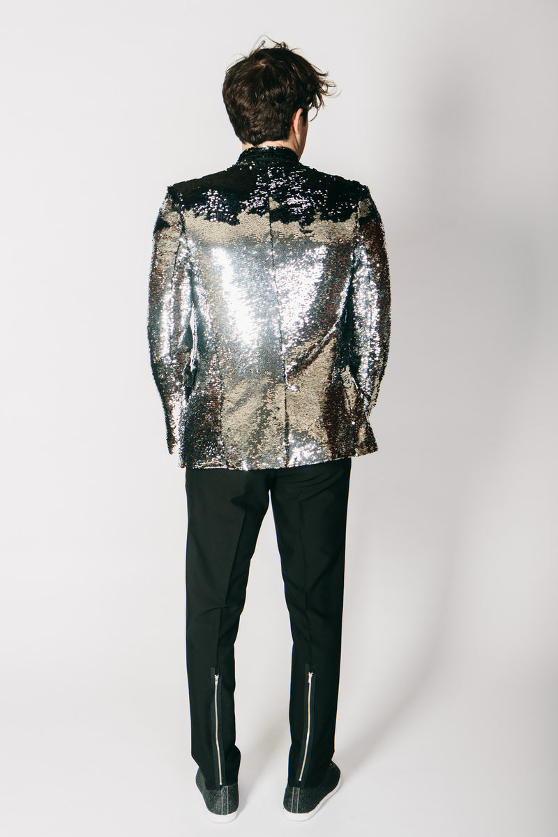 Any Old Iron Black/Silver Sequin Jacket , Mens Jackets - ANY OLD IRON,  - 4