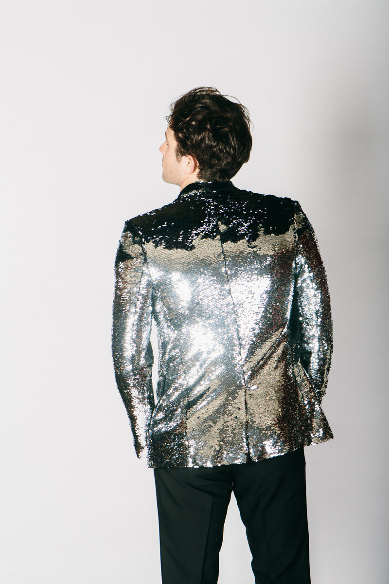 Any Old Iron Black/Silver Sequin Jacket , Mens Jackets - ANY OLD IRON,  - 2