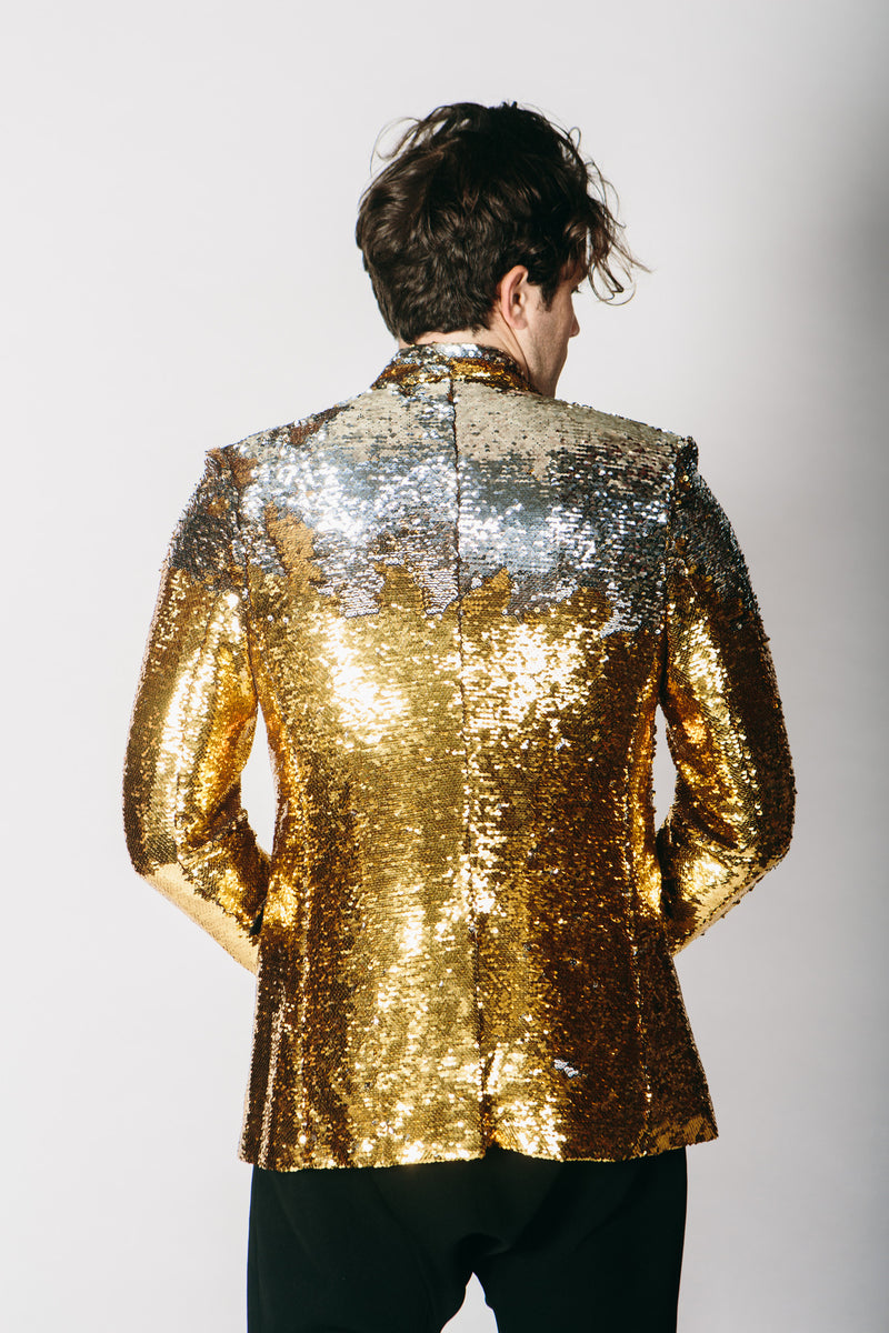 Any Old Iron Gold/Silver Sequin Suit Jacket , Mens Jackets - ANY OLD IRON,  - 2
