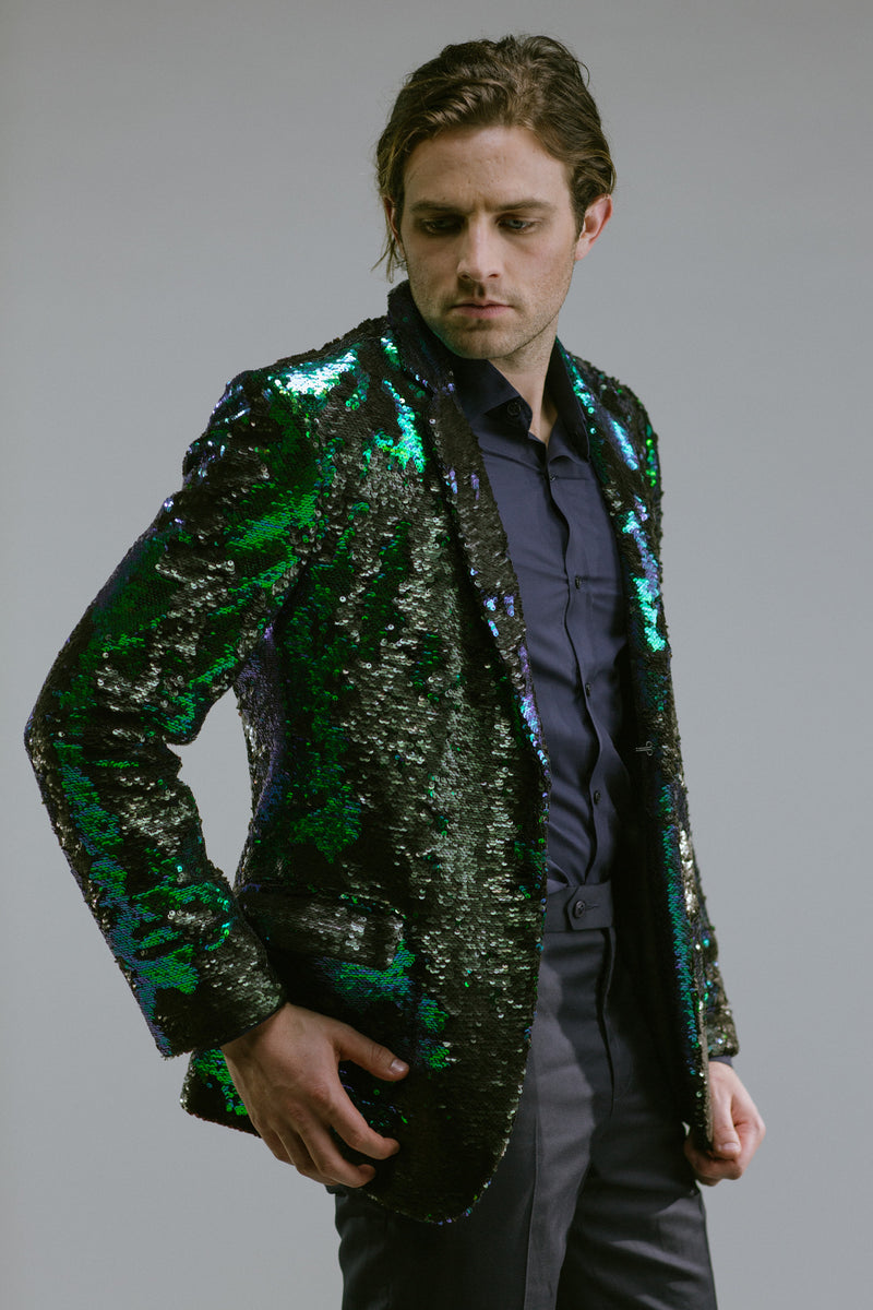 Any Old Iron Peacock Sequin Blazer , Mens Jackets - ANY OLD IRON,  - 1